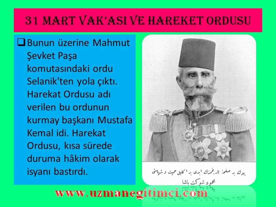 İ TT İ HAT VE TERAKK İ DÖNEM İ  İstanbul'daki Avcı Taburları'nın 13 Nisan 1909'da başlattıkları isyan sırasında pek çok İttihatçı öldürüldü. II.Abdül