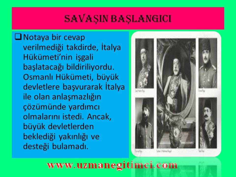 İ TALYA'NIN TRABLUSGARP TAARUZU  Osmanlı Devleti'nin Trablusgarp ve Bingazi'nin ilerlemesi için bir şey yapmadığı,  bölgenin medenileşmesinin İtalya