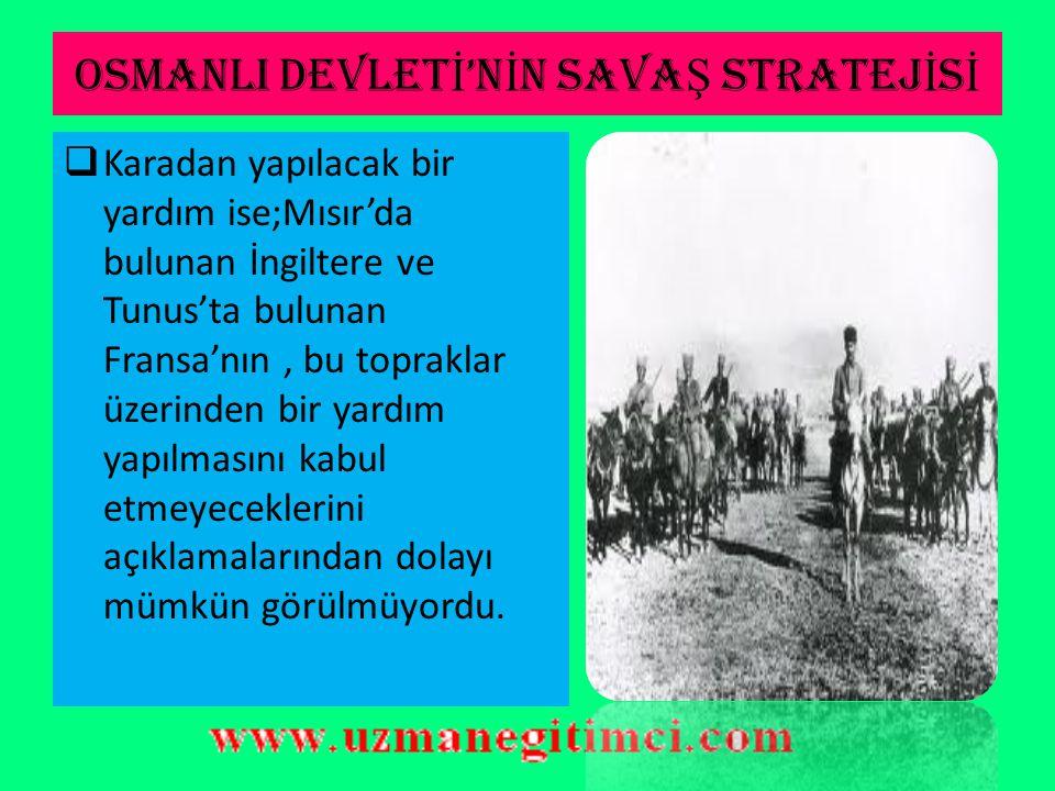 OSMANLI DEVLET İ 'N İ N SAVA Ş STRATEJ İ S İ  Savaşın kaçınılmaz olduğunu gören Osmanlı Hükümeti, öncelikle bu işgali şiddetle protesto etti. Ancak,