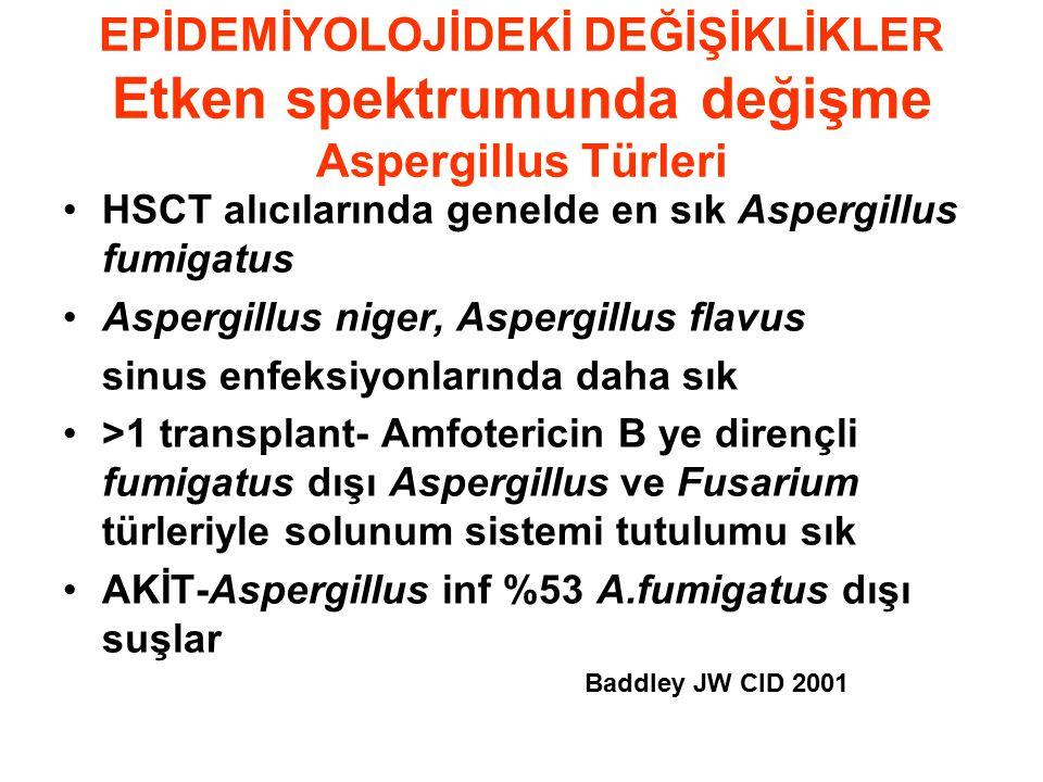 EPİDEMİYOLOJİDEKİ DEĞİŞİKLİKLER Etken spektrumunda değişme Aspergillus Türleri HSCT alıcılarında genelde en sık Aspergillus fumigatus Aspergillus niger, Aspergillus flavus sinus enfeksiyonlarında daha sık >1 transplant- Amfotericin B ye dirençli fumigatus dışı Aspergillus ve Fusarium türleriyle solunum sistemi tutulumu sık AKİT-Aspergillus inf %53 A.fumigatus dışı suşlar Baddley JW CID 2001