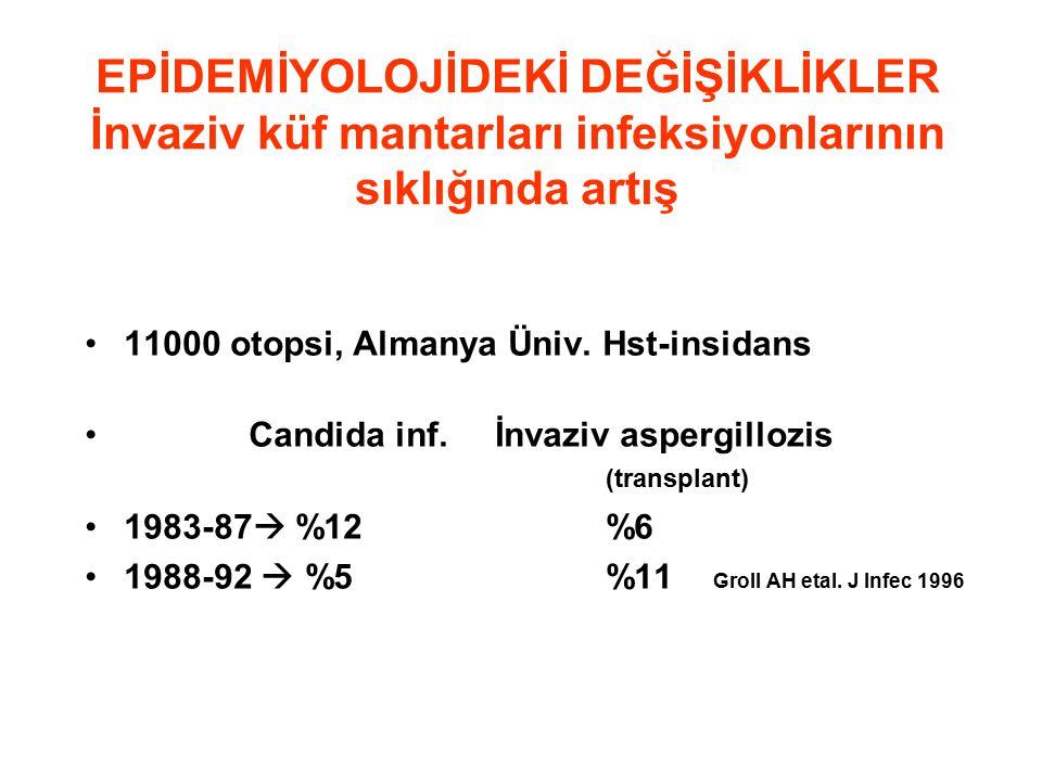 EPİDEMİYOLOJİDEKİ DEĞİŞİKLİKLER İnvaziv küf mantarları infeksiyonlarının sıklığında artış 11000 otopsi, Almanya Üniv.
