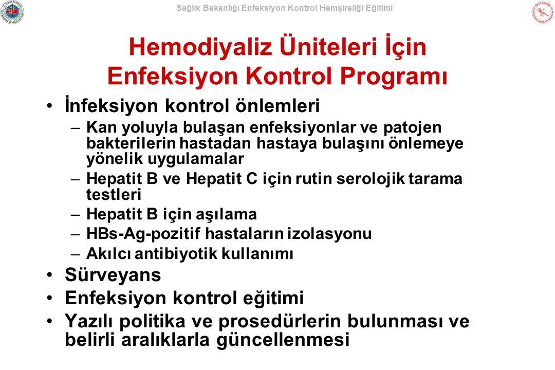 Sağlık Bakanlığı Enfeksiyon Kontrol Hemşireliği Eğitimi Hemodiyaliz Üniteleri İçin Enfeksiyon Kontrol Programı İnfeksiyon kontrol önlemleri –Kan yoluy