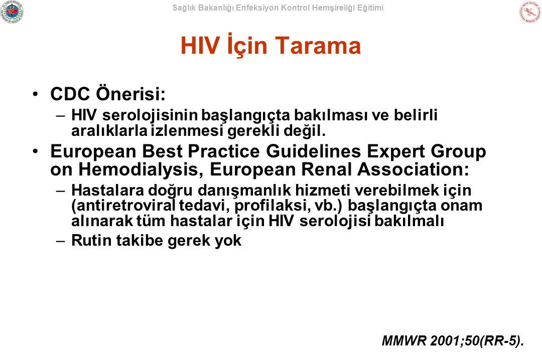 Sağlık Bakanlığı Enfeksiyon Kontrol Hemşireliği Eğitimi HIV İçin Tarama CDC Önerisi: –HIV serolojisinin başlangıçta bakılması ve belirli aralıklarla i