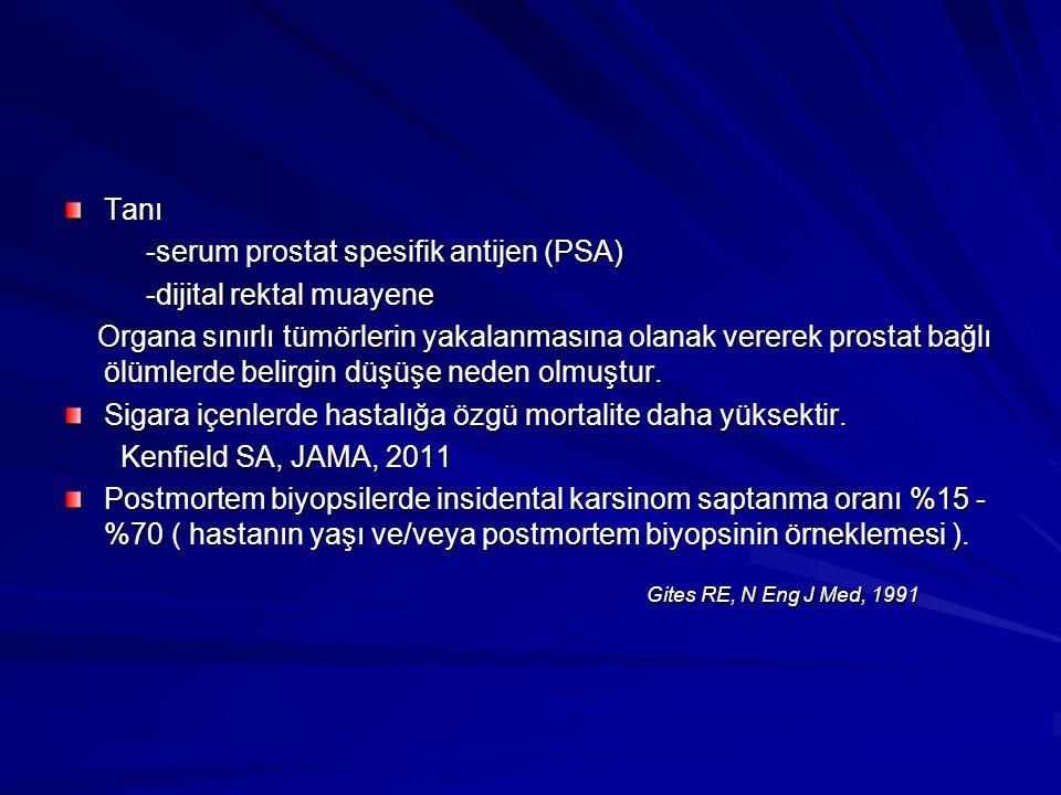 Tanı -serum prostat spesifik antijen (PSA) -serum prostat spesifik antijen (PSA) -dijital rektal muayene -dijital rektal muayene Organa sınırlı tümörl