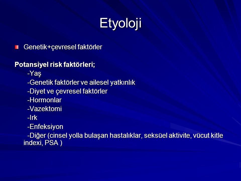 Etyoloji Genetik+çevresel faktörler Potansiyel risk faktörleri; -Yaş -Yaş -Genetik faktörler ve ailesel yatkınlık -Genetik faktörler ve ailesel yatkın