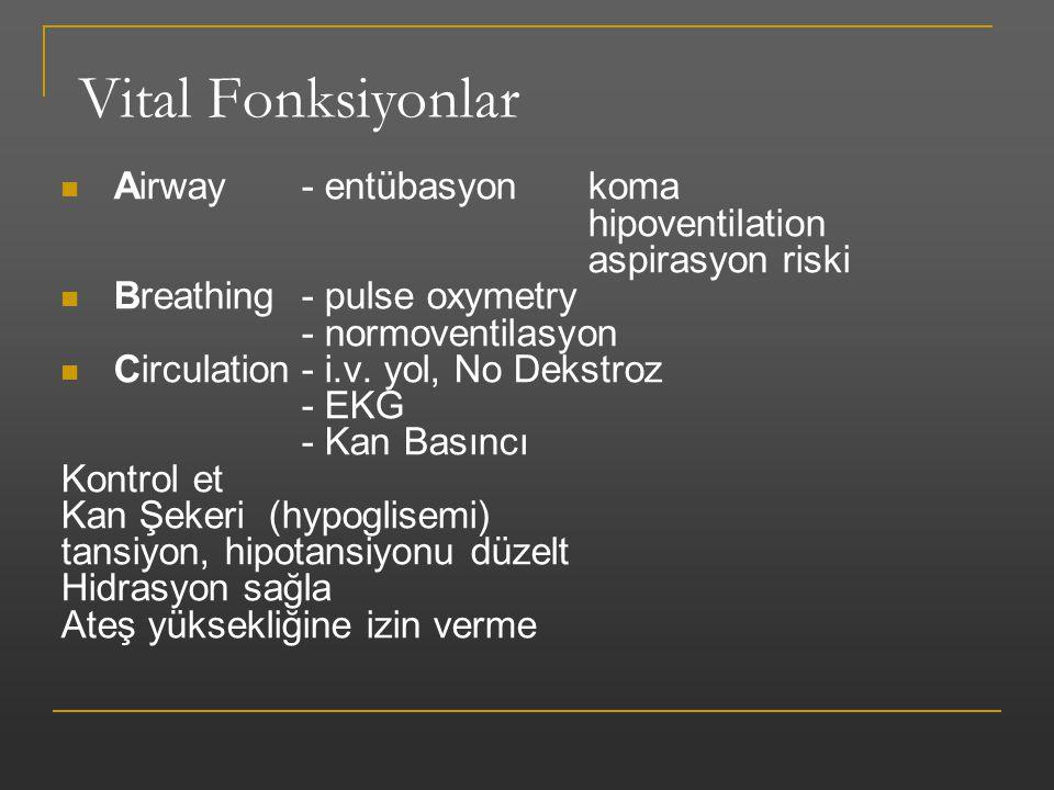 Vital Fonksiyonlar Airway- entübasyon koma hipoventilation aspirasyon riski Breathing- pulse oxymetry - normoventilasyon Circulation- i.v. yol, No Dek
