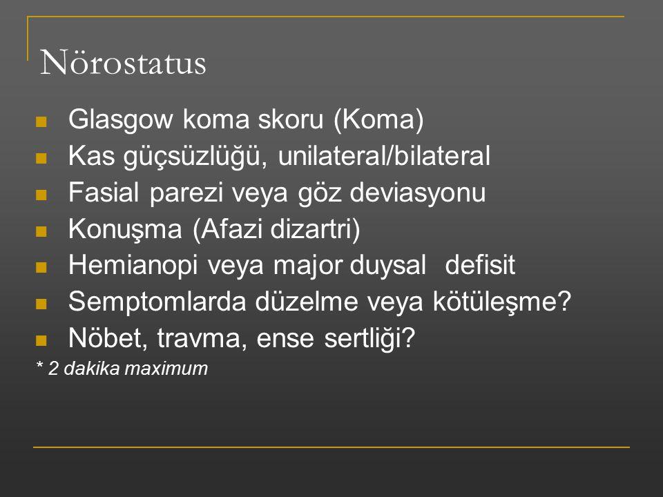 Nörostatus Glasgow koma skoru (Koma) Kas güçsüzlüğü, unilateral/bilateral Fasial parezi veya göz deviasyonu Konuşma (Afazi dizartri) Hemianopi veya ma
