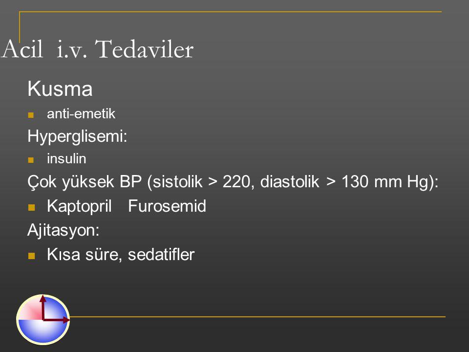 Acil i.v. Tedaviler Kusma anti-emetik Hyperglisemi: insulin Çok yüksek BP (sistolik > 220, diastolik > 130 mm Hg): Kaptopril Furosemid Ajitasyon: Kısa