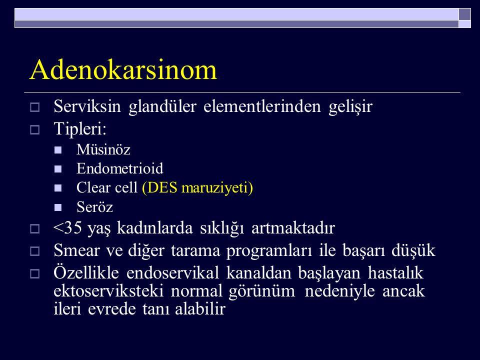 Patoloji Serviks kanserlerinin tipleri;  Skuamöz (yassı hücreli) karsinomlar (%85-90)  Çeşitli adenokarsinom tipleri (%10-15)  Adenoskuamöz karsino