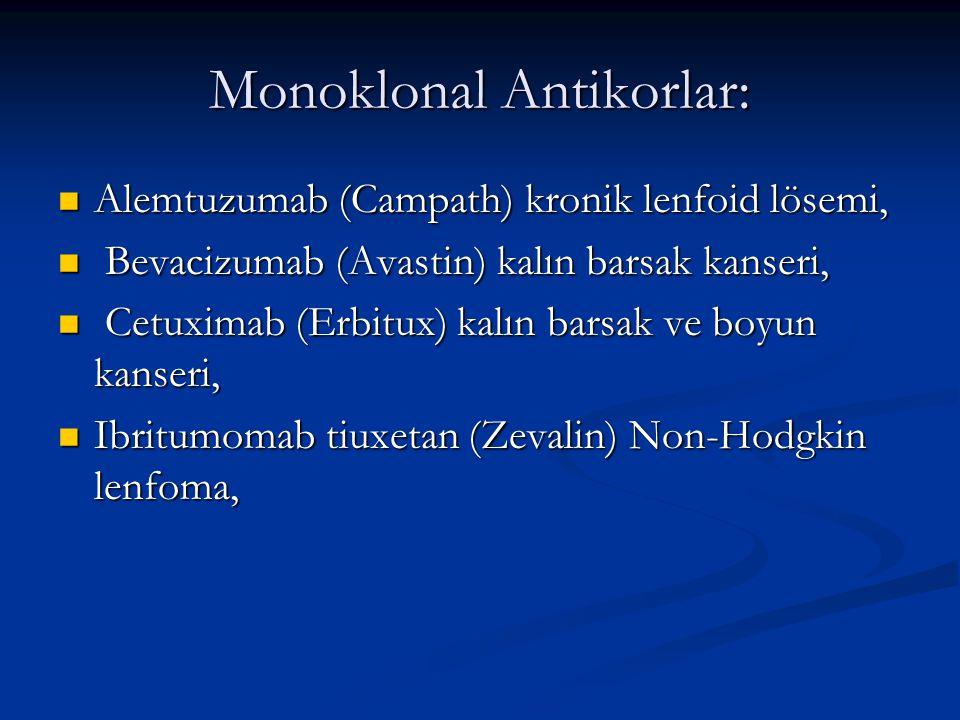 Monoklonal Antikorlar: Alemtuzumab (Campath) kronik lenfoid lösemi, Alemtuzumab (Campath) kronik lenfoid lösemi, Bevacizumab (Avastin) kalın barsak ka