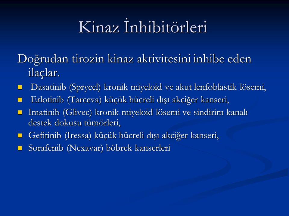 Kinaz İnhibitörleri Kinaz İnhibitörleri Doğrudan tirozin kinaz aktivitesini inhibe eden ilaçlar. Dasatinib (Sprycel) kronik miyeloid ve akut lenfoblas