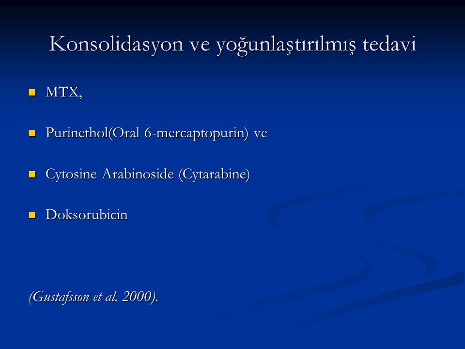 Konsolidasyon ve yoğunlaştırılmış tedavi MTX, MTX, Purinethol(Oral 6-mercaptopurin) ve Purinethol(Oral 6-mercaptopurin) ve Cytosine Arabinoside (Cytar