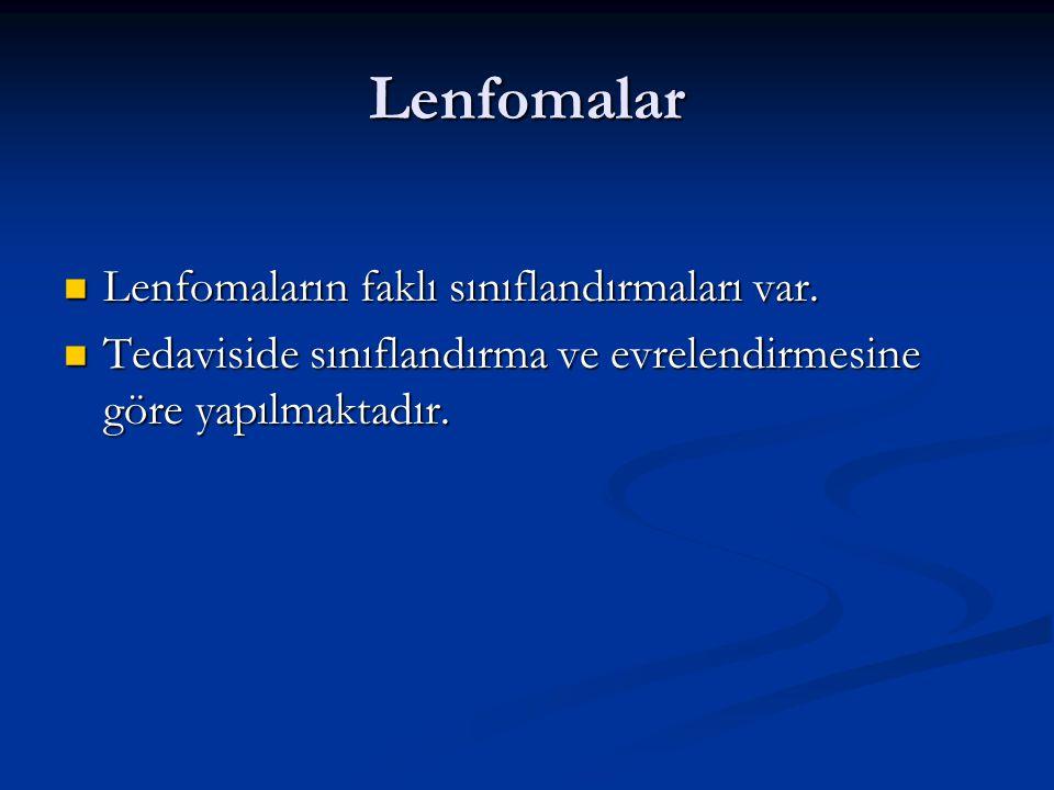 Lenfomalar Lenfomaların faklı sınıflandırmaları var. Lenfomaların faklı sınıflandırmaları var. Tedaviside sınıflandırma ve evrelendirmesine göre yapıl