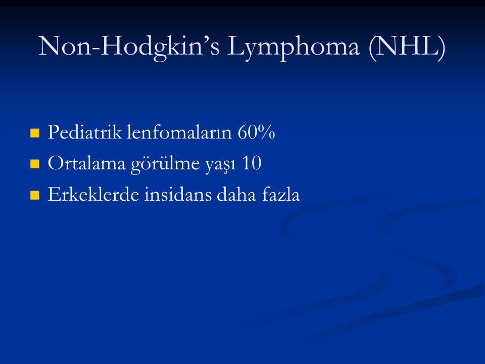 Non-Hodgkin's Lymphoma (NHL) Pediatrik lenfomaların 60% Ortalama görülme yaşı 10 Erkeklerde insidans daha fazla