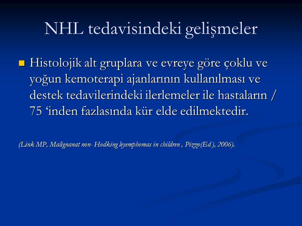 NHL tedavisindeki gelişmeler Histolojik alt gruplara ve evreye göre çoklu ve yoğun kemoterapi ajanlarının kullanılması ve destek tedavilerindeki ilerl