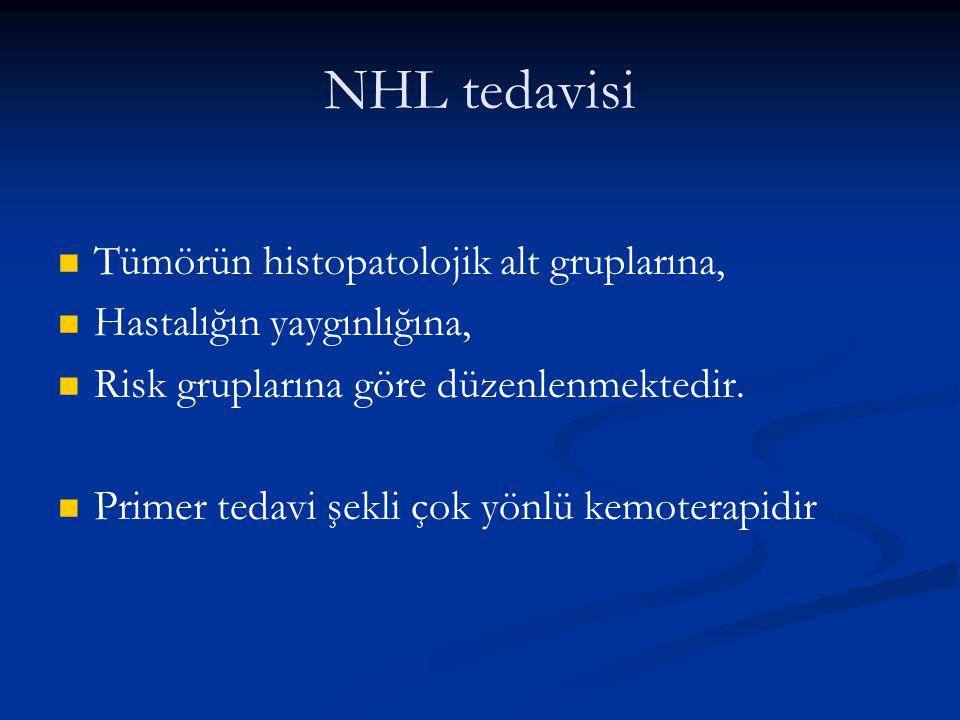 NHL tedavisi Tümörün histopatolojik alt gruplarına, Hastalığın yaygınlığına, Risk gruplarına göre düzenlenmektedir. Primer tedavi şekli çok yönlü kemo