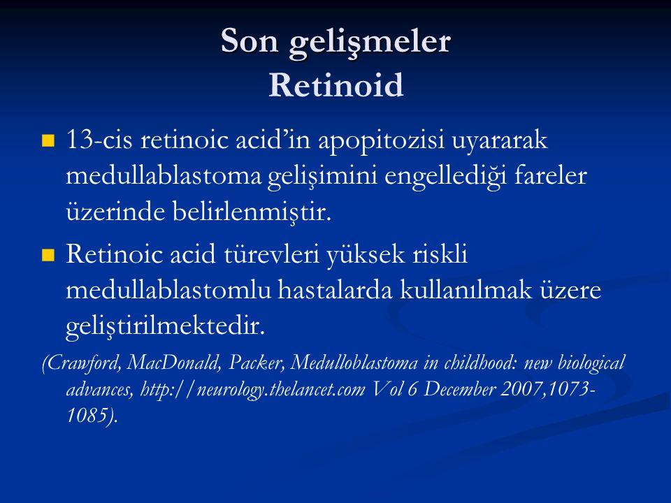 Son gelişmeler Son gelişmeler Retinoid 13-cis retinoic acid'in apopitozisi uyararak medullablastoma gelişimini engellediği fareler üzerinde belirlenmi
