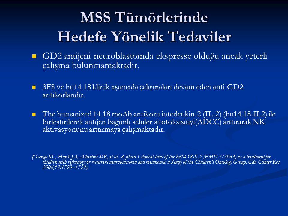 MSS Tümörlerinde Hedefe Yönelik Tedaviler GD2 antijeni neuroblastomda ekspresse olduğu ancak yeterli çalışma bulunmamaktadır. 3F8 ve hu14.18 klinik aş