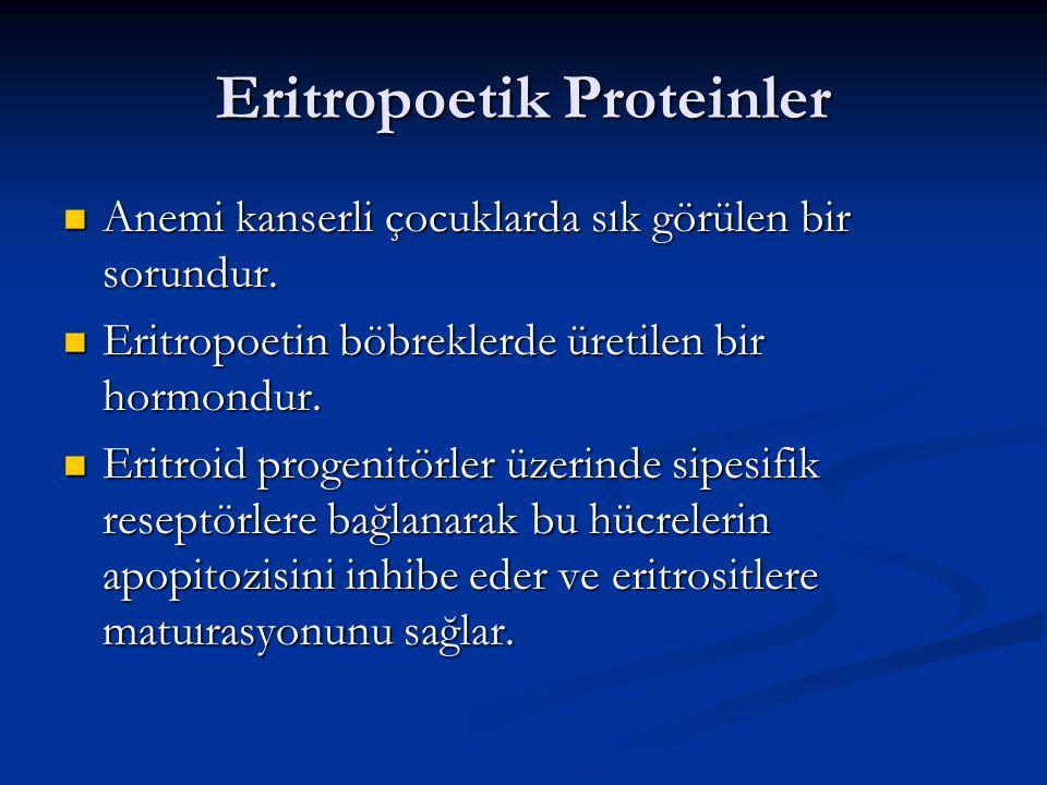 Eritropoetik Proteinler Anemi kanserli çocuklarda sık görülen bir sorundur. Anemi kanserli çocuklarda sık görülen bir sorundur. Eritropoetin böbrekler
