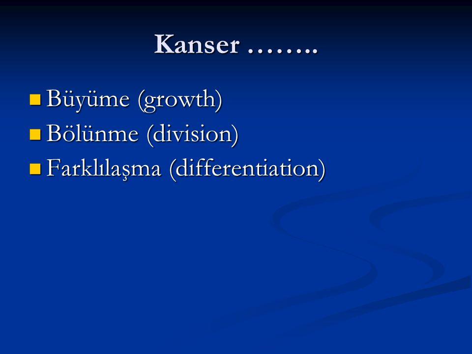 Kanser …….. Büyüme (growth) Büyüme (growth) Bölünme (division) Bölünme (division) Farklılaşma (differentiation) Farklılaşma (differentiation)