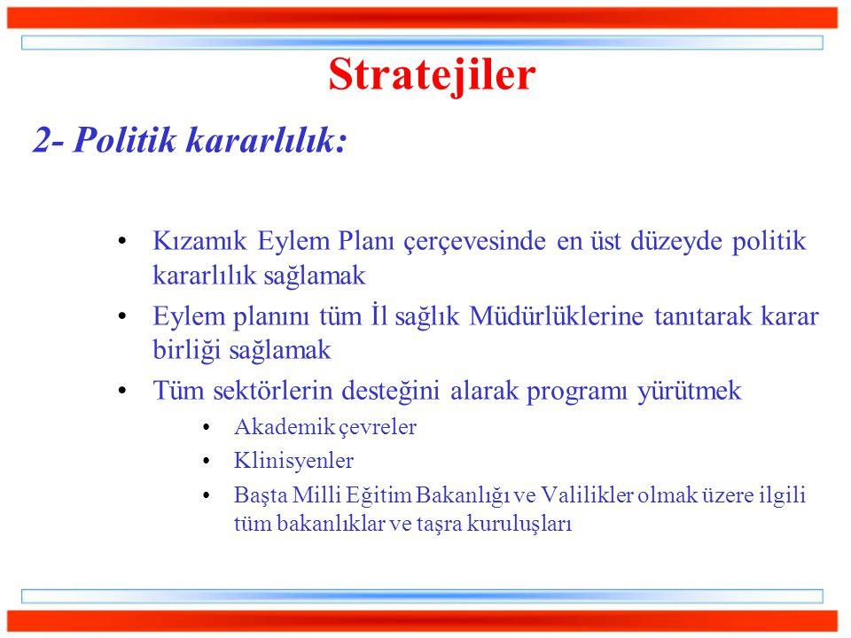 2- Politik kararlılık: Kızamık Eylem Planı çerçevesinde en üst düzeyde politik kararlılık sağlamak Eylem planını tüm İl sağlık Müdürlüklerine tanıtara