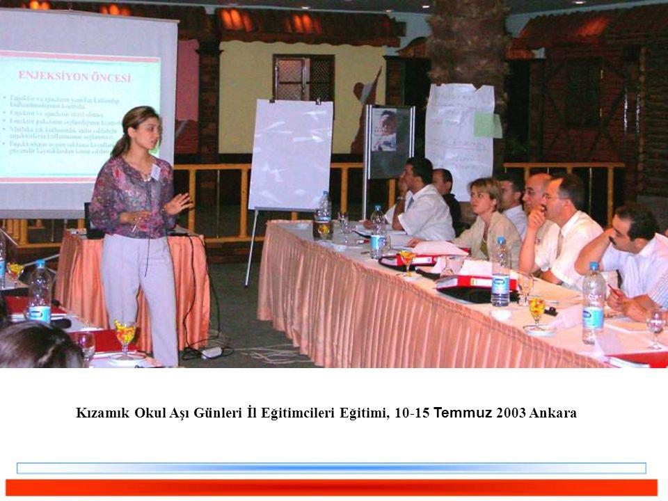 Kızamık Okul Aşı Günleri İl Eğitimcileri Eğitimi, 10-15 Temmuz 2003 Ankara