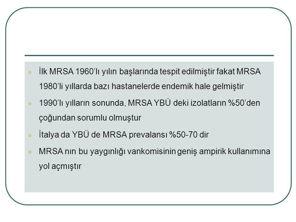 İlk MRSA 1960'lı yılın başlarında tespit edilmiştir fakat MRSA 1980'li yıllarda bazı hastanelerde endemik hale gelmiştir 1990'lı yılların sonunda, MRSA YBÜ deki izolatların %50'den çoğundan sorumlu olmuştur İtalya da YBÜ de MRSA prevalansı %50-70 dir MRSA nın bu yaygınlığı vankomisinin geniş ampirik kullanımına yol açmıştır