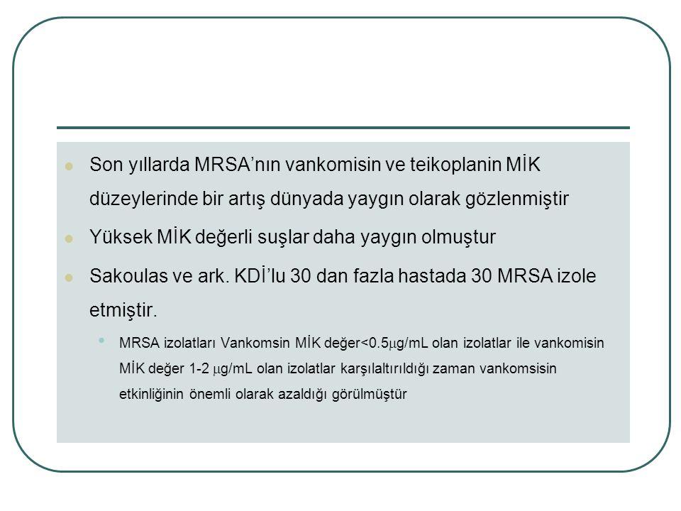 Son yıllarda MRSA'nın vankomisin ve teikoplanin MİK düzeylerinde bir artış dünyada yaygın olarak gözlenmiştir Yüksek MİK değerli suşlar daha yaygın olmuştur Sakoulas ve ark.