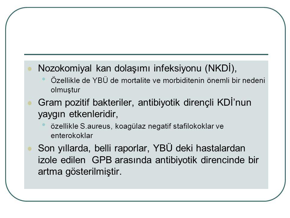 Nozokomiyal kan dolaşımı infeksiyonu (NKDİ), Özellikle de YBÜ de mortalite ve morbiditenin önemli bir nedeni olmuştur Gram pozitif bakteriler, antibiyotik dirençli KDİ'nun yaygın etkenleridir, özellikle S.aureus, koagülaz negatif stafilokoklar ve enterokoklar Son yıllarda, belli raporlar, YBÜ deki hastalardan izole edilen GPB arasında antibiyotik direncinde bir artma gösterilmiştir.