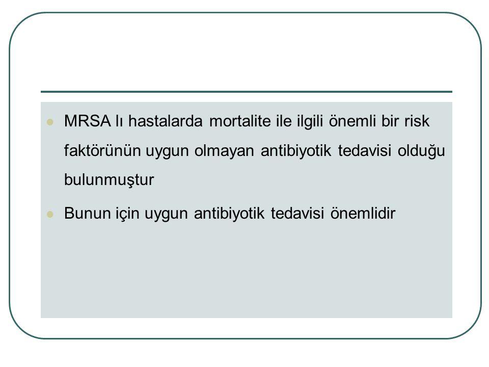 MRSA lı hastalarda mortalite ile ilgili önemli bir risk faktörünün uygun olmayan antibiyotik tedavisi olduğu bulunmuştur Bunun için uygun antibiyotik tedavisi önemlidir