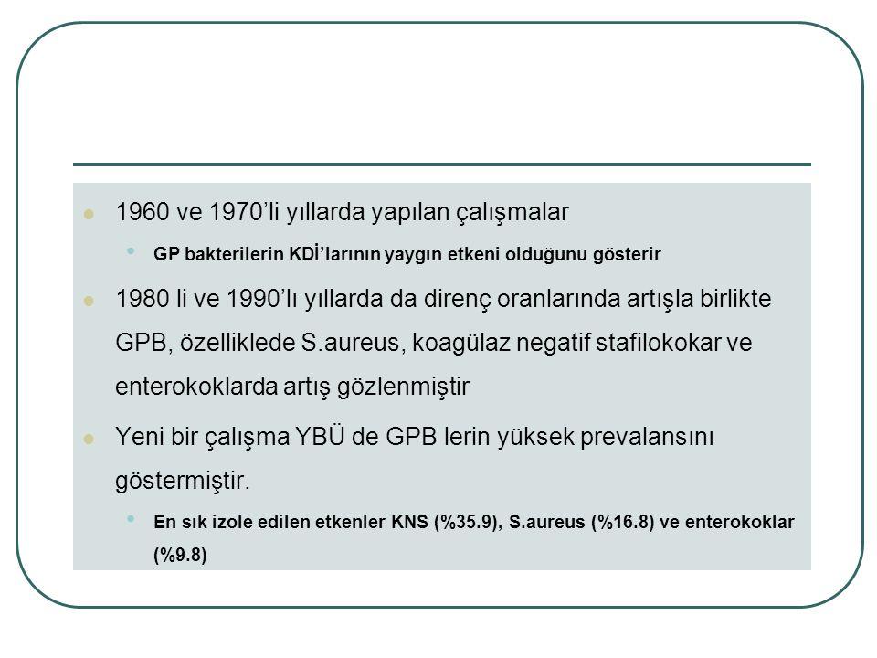 1960 ve 1970'li yıllarda yapılan çalışmalar GP bakterilerin KDİ'larının yaygın etkeni olduğunu gösterir 1980 li ve 1990'lı yıllarda da direnç oranlarında artışla birlikte GPB, özelliklede S.aureus, koagülaz negatif stafilokokar ve enterokoklarda artış gözlenmiştir Yeni bir çalışma YBÜ de GPB lerin yüksek prevalansını göstermiştir.