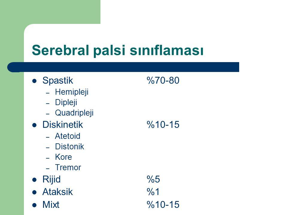 Serebral palsi sınıflaması Spastik%70-80 – Hemipleji – Dipleji – Quadripleji Diskinetik %10-15 – Atetoid – Distonik – Kore – Tremor Rijid%5 Ataksik%1