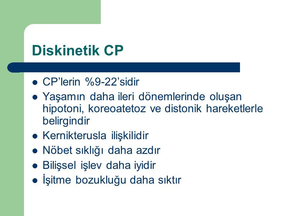 Diskinetik CP CP'lerin %9-22'sidir Yaşamın daha ileri dönemlerinde oluşan hipotoni, koreoatetoz ve distonik hareketlerle belirgindir Kernikterusla ili