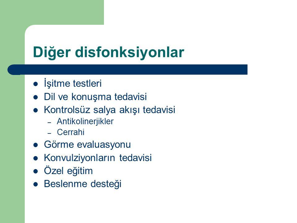 Diğer disfonksiyonlar İşitme testleri Dil ve konuşma tedavisi Kontrolsüz salya akışı tedavisi – Antikolinerjikler – Cerrahi Görme evaluasyonu Konvulzi