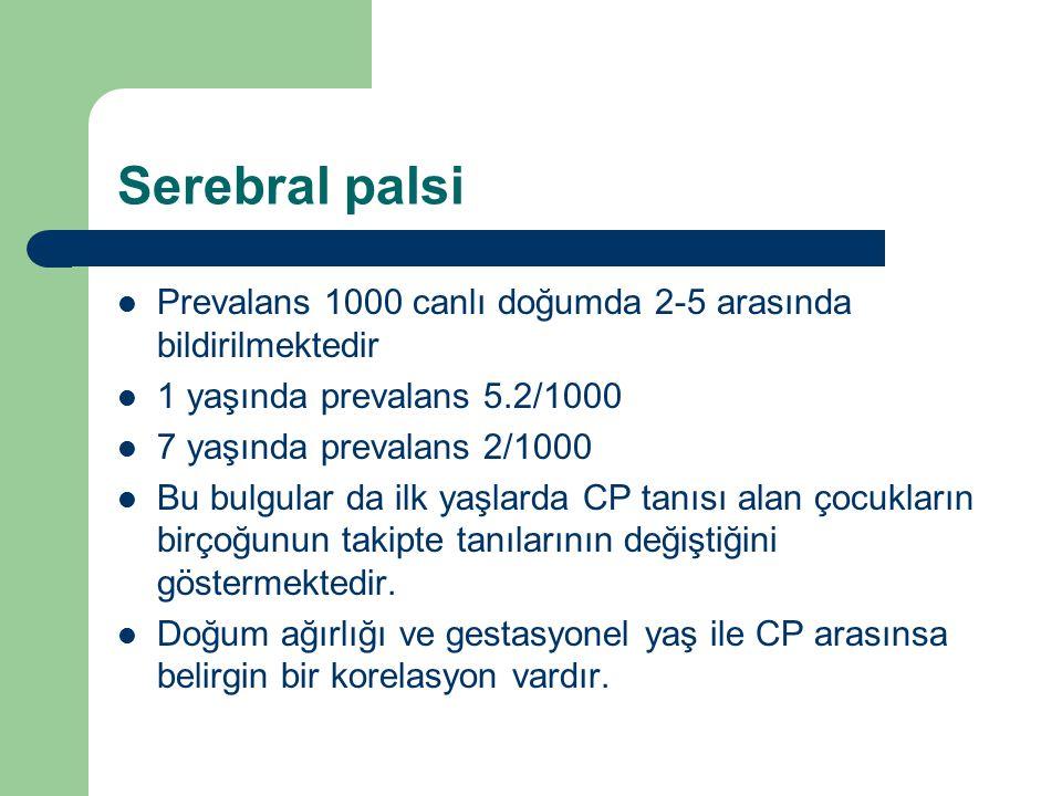 Serebral palsi Prevalans 1000 canlı doğumda 2-5 arasında bildirilmektedir 1 yaşında prevalans 5.2/1000 7 yaşında prevalans 2/1000 Bu bulgular da ilk y