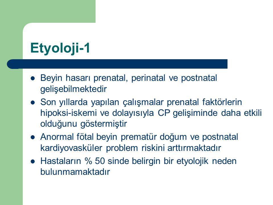 Etyoloji-1 Beyin hasarı prenatal, perinatal ve postnatal gelişebilmektedir Son yıllarda yapılan çalışmalar prenatal faktörlerin hipoksi-iskemi ve dola