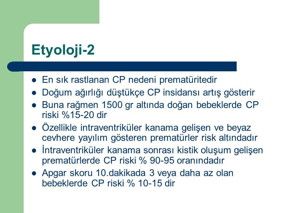Etyoloji-2 En sık rastlanan CP nedeni prematüritedir Doğum ağırlığı düştükçe CP insidansı artış gösterir Buna rağmen 1500 gr altında doğan bebeklerde
