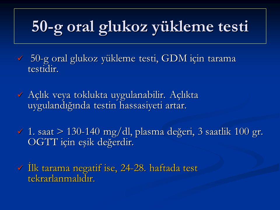 50-g oral glukoz yükleme testi 50-g oral glukoz yükleme testi, GDM için tarama testidir. 50-g oral glukoz yükleme testi, GDM için tarama testidir. Açl