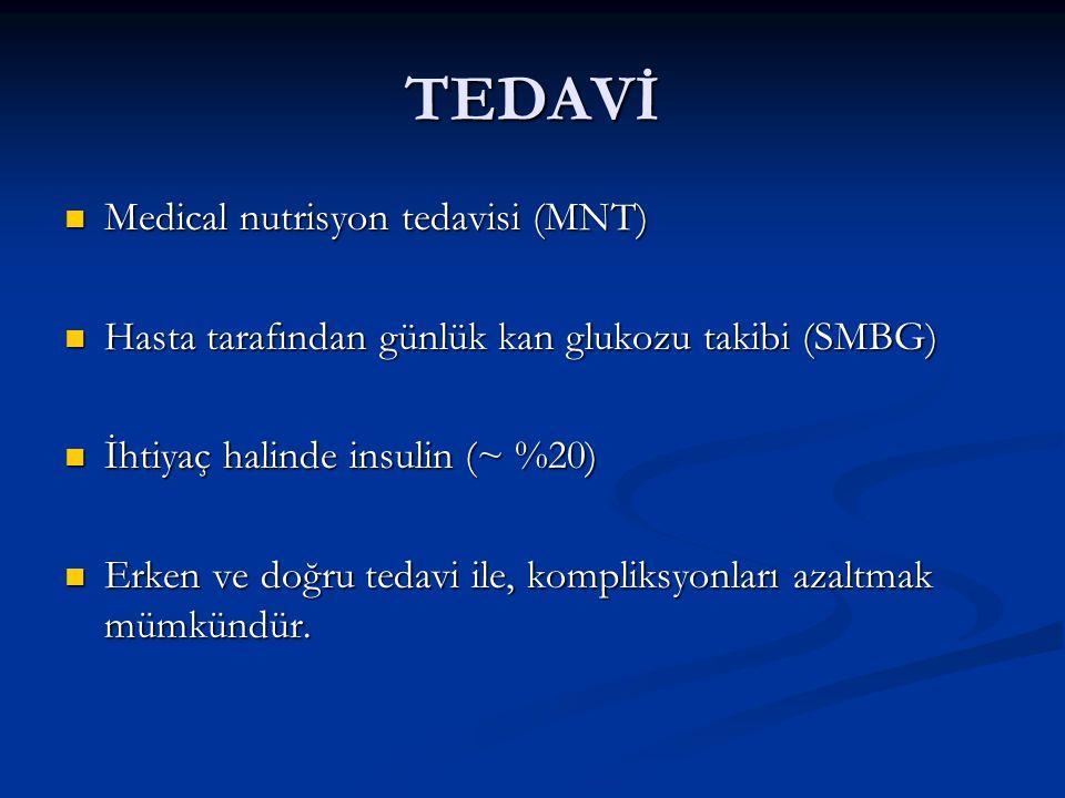 TEDAVİ Medical nutrisyon tedavisi (MNT) Medical nutrisyon tedavisi (MNT) Hasta tarafından günlük kan glukozu takibi (SMBG) Hasta tarafından günlük kan