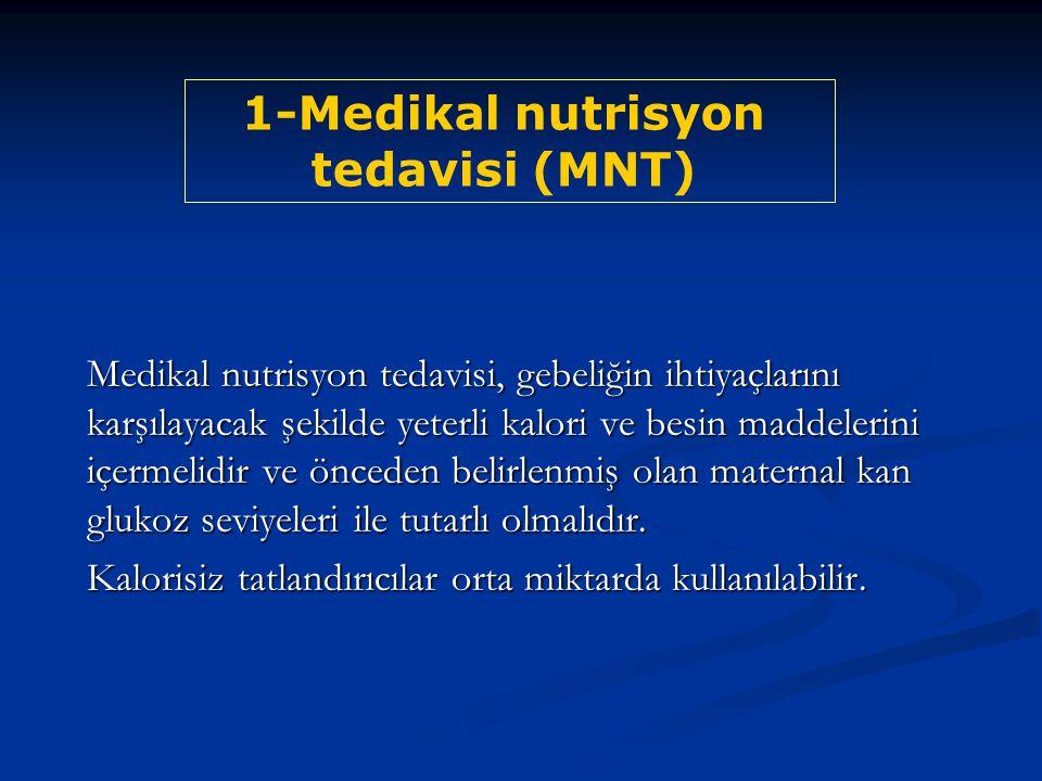 Medikal nutrisyon tedavisi, gebeliğin ihtiyaçlarını karşılayacak şekilde yeterli kalori ve besin maddelerini içermelidir ve önceden belirlenmiş olan m