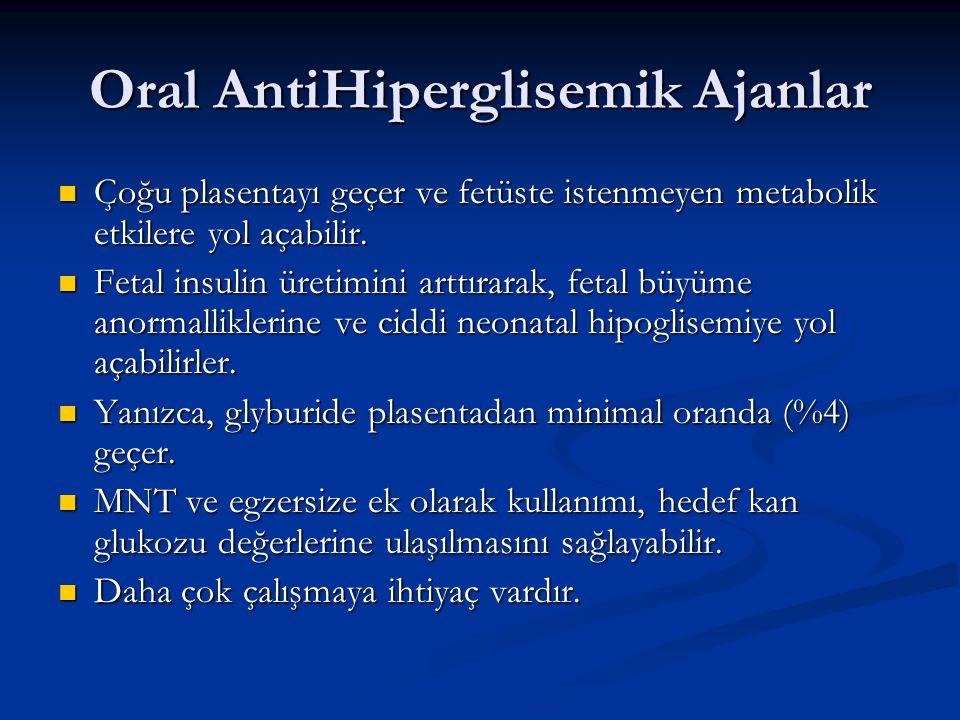 Oral AntiHiperglisemik Ajanlar Çoğu plasentayı geçer ve fetüste istenmeyen metabolik etkilere yol açabilir. Çoğu plasentayı geçer ve fetüste istenmeye