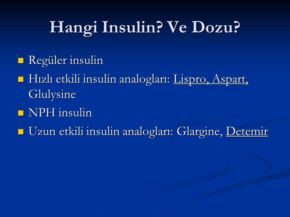 Hangi Insulin? Ve Dozu? Regüler insulin Regüler insulin Hızlı etkili insulin analogları: Lispro, Aspart, Glulysine Hızlı etkili insulin analogları: Li