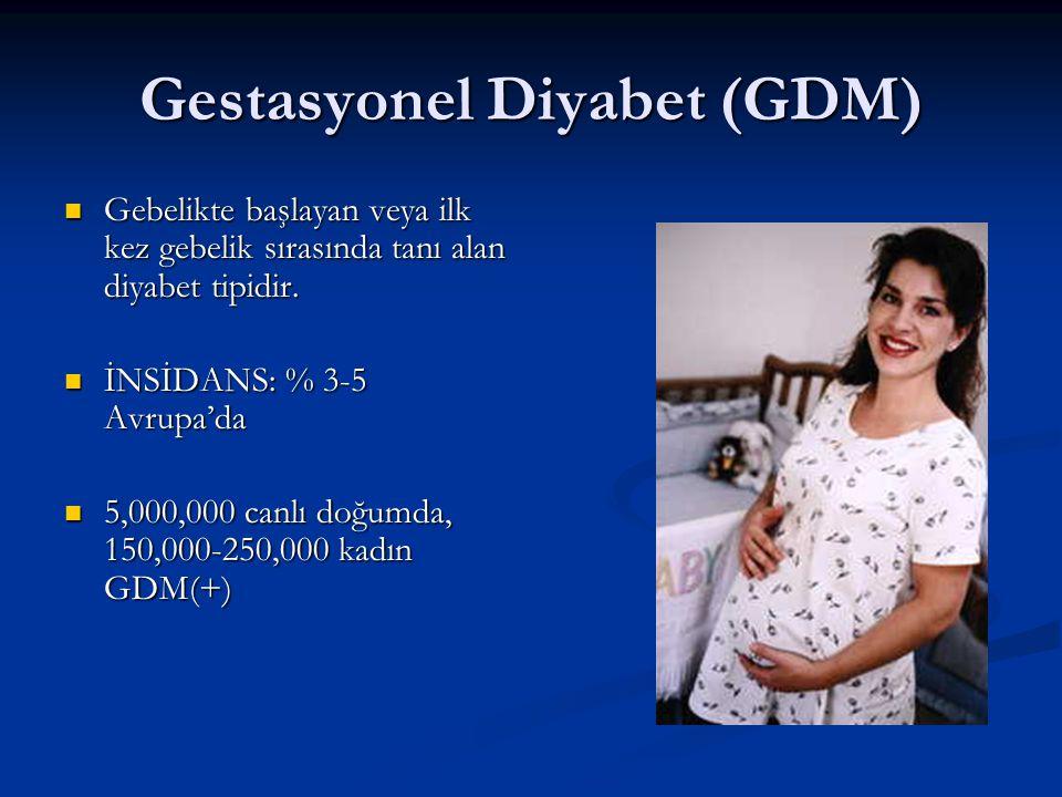 Gestasyonel Diyabet (GDM) Gebelikte başlayan veya ilk kez gebelik sırasında tanı alan diyabet tipidir. Gebelikte başlayan veya ilk kez gebelik sırasın