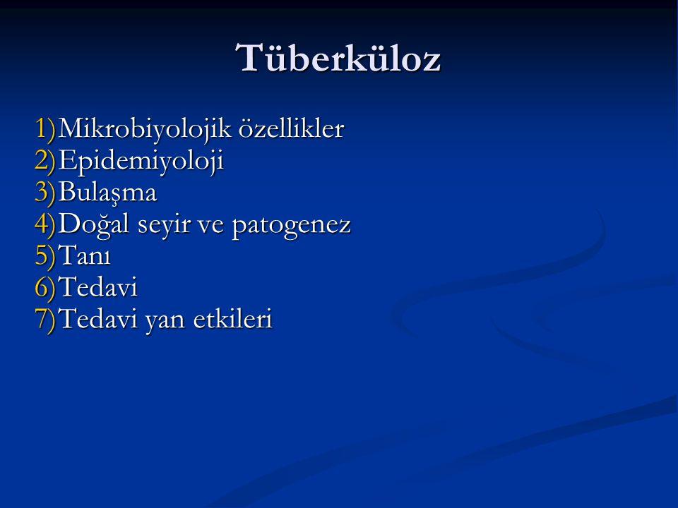 Tüberküloz 1)Mikrobiyolojik özellikler 2)Epidemiyoloji 3)Bulaşma 4)Doğal seyir ve patogenez 5)Tanı 6)Tedavi 7)Tedavi yan etkileri
