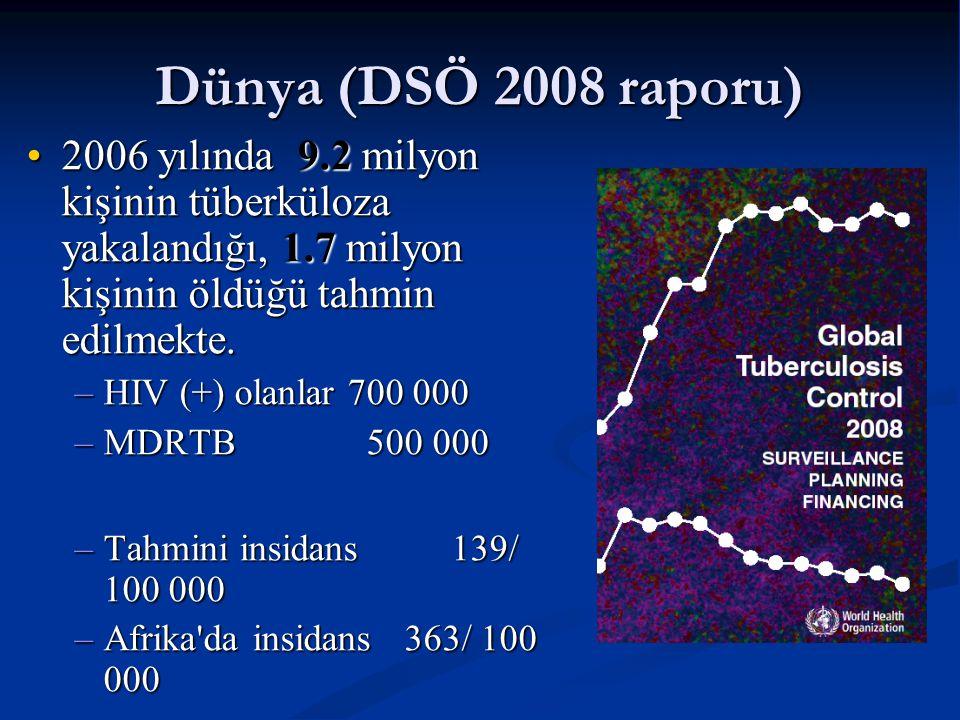 Dünya (DSÖ 2008 raporu)  2006 yılında 9.2 milyon kişinin tüberküloza yakalandığı, 1.7 milyon kişinin öldüğü tahmin edilmekte.2006 yılında 9.2 milyon