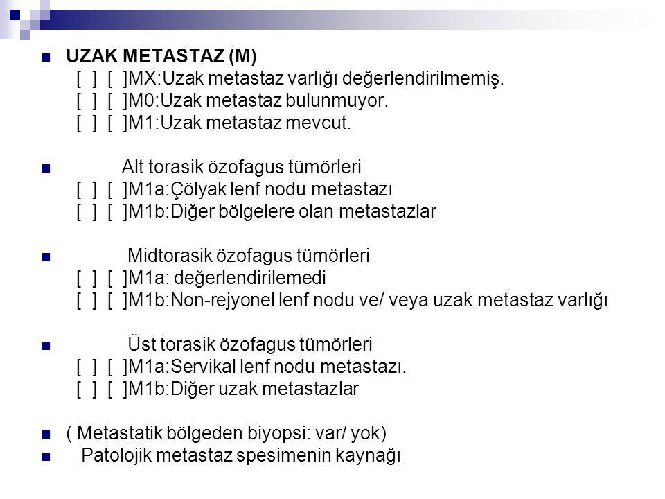 UZAK METASTAZ (M) [ ] [ ]MX:Uzak metastaz varlığı değerlendirilmemiş. [ ] [ ]M0:Uzak metastaz bulunmuyor. [ ] [ ]M1:Uzak metastaz mevcut. Alt torasik