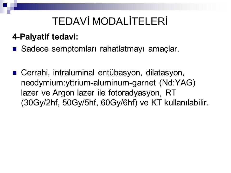 4-Palyatif tedavi: Sadece semptomları rahatlatmayı amaçlar. Cerrahi, intraluminal entübasyon, dilatasyon, neodymium:yttrium-aluminum-garnet (Nd:YAG) l
