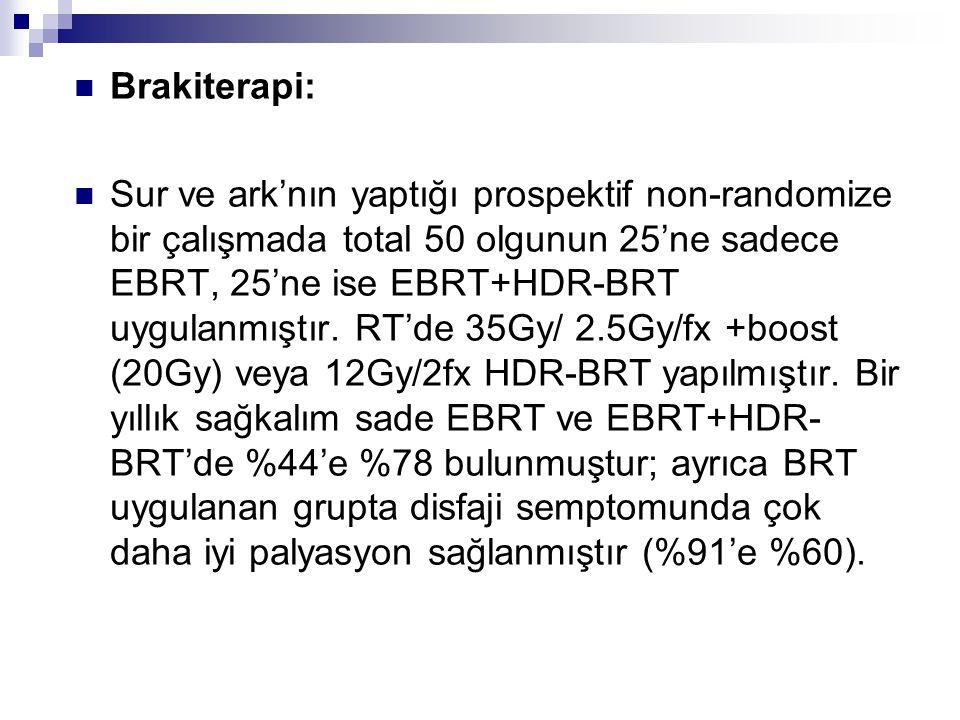 Brakiterapi: Sur ve ark'nın yaptığı prospektif non-randomize bir çalışmada total 50 olgunun 25'ne sadece EBRT, 25'ne ise EBRT+HDR-BRT uygulanmıştır. R