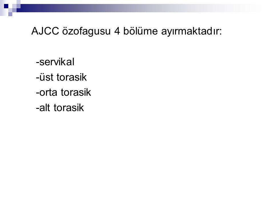AJCC özofagusu 4 bölüme ayırmaktadır: -servikal -üst torasik -orta torasik -alt torasik