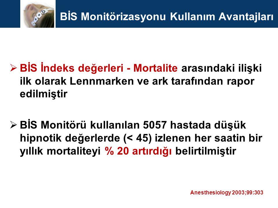 BİS Monitörizasyonu Kullanım Avantajları  BİS İndeks değerleri - Mortalite arasındaki ilişki ilk olarak Lennmarken ve ark tarafından rapor edilmiştir